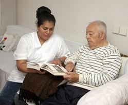 LVN with senior male nursing home patient